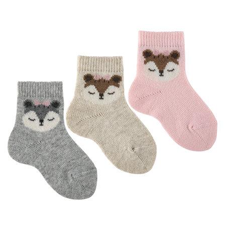 Condor - Flirty squirrel embroidery short socks Grey