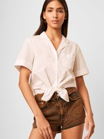 French Connection Tie Front Poplin Top