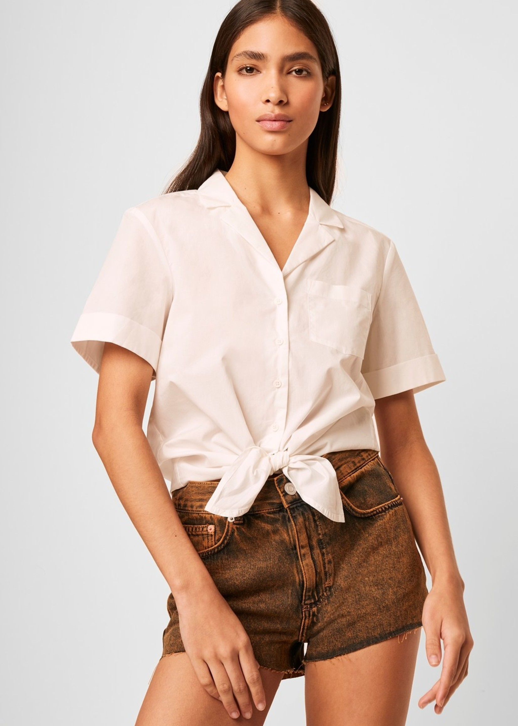 French Connection French Connection Tie Front Poplin Top