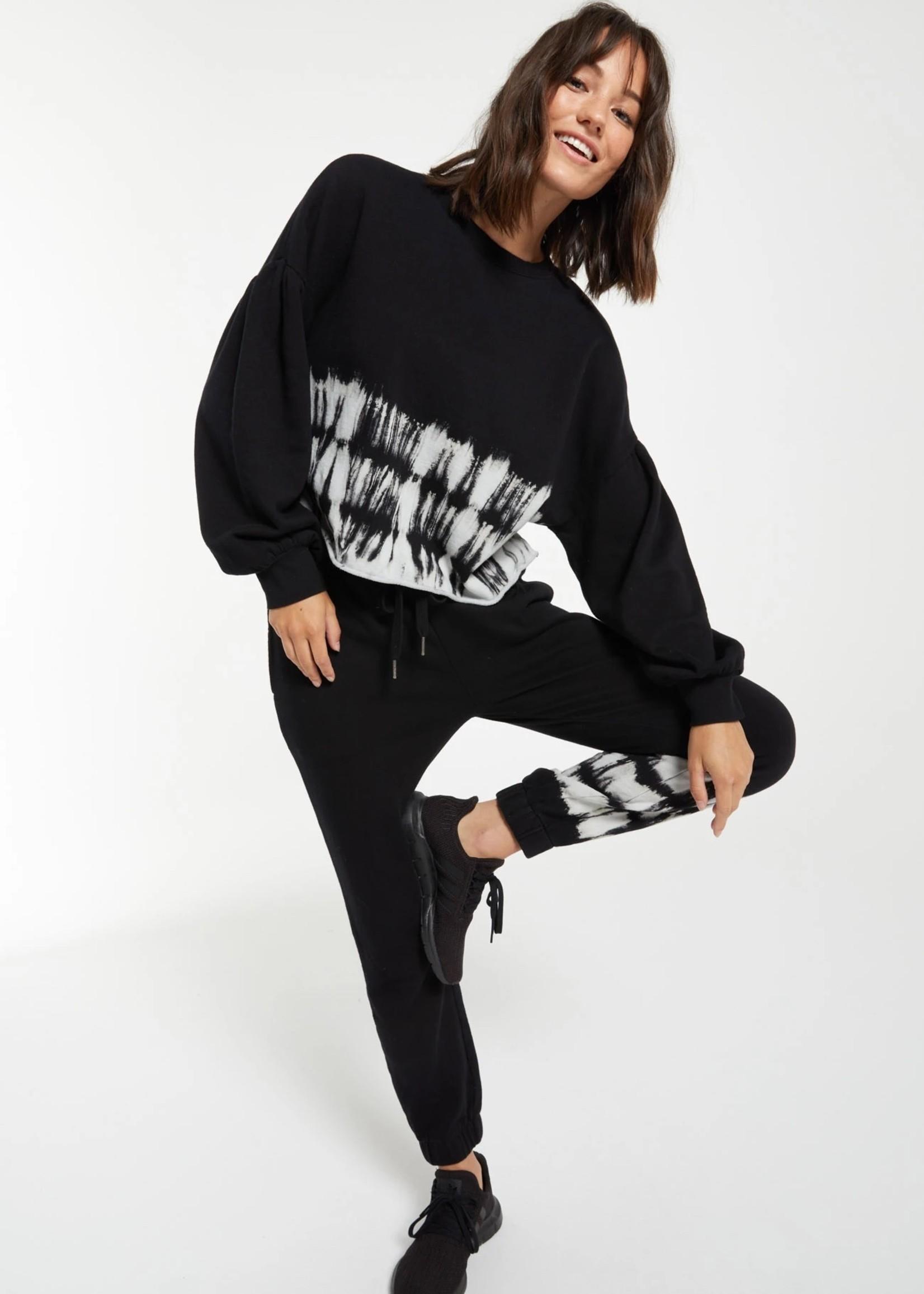 Z Supply Black & White Selene Stripe Tie Dye Jogger