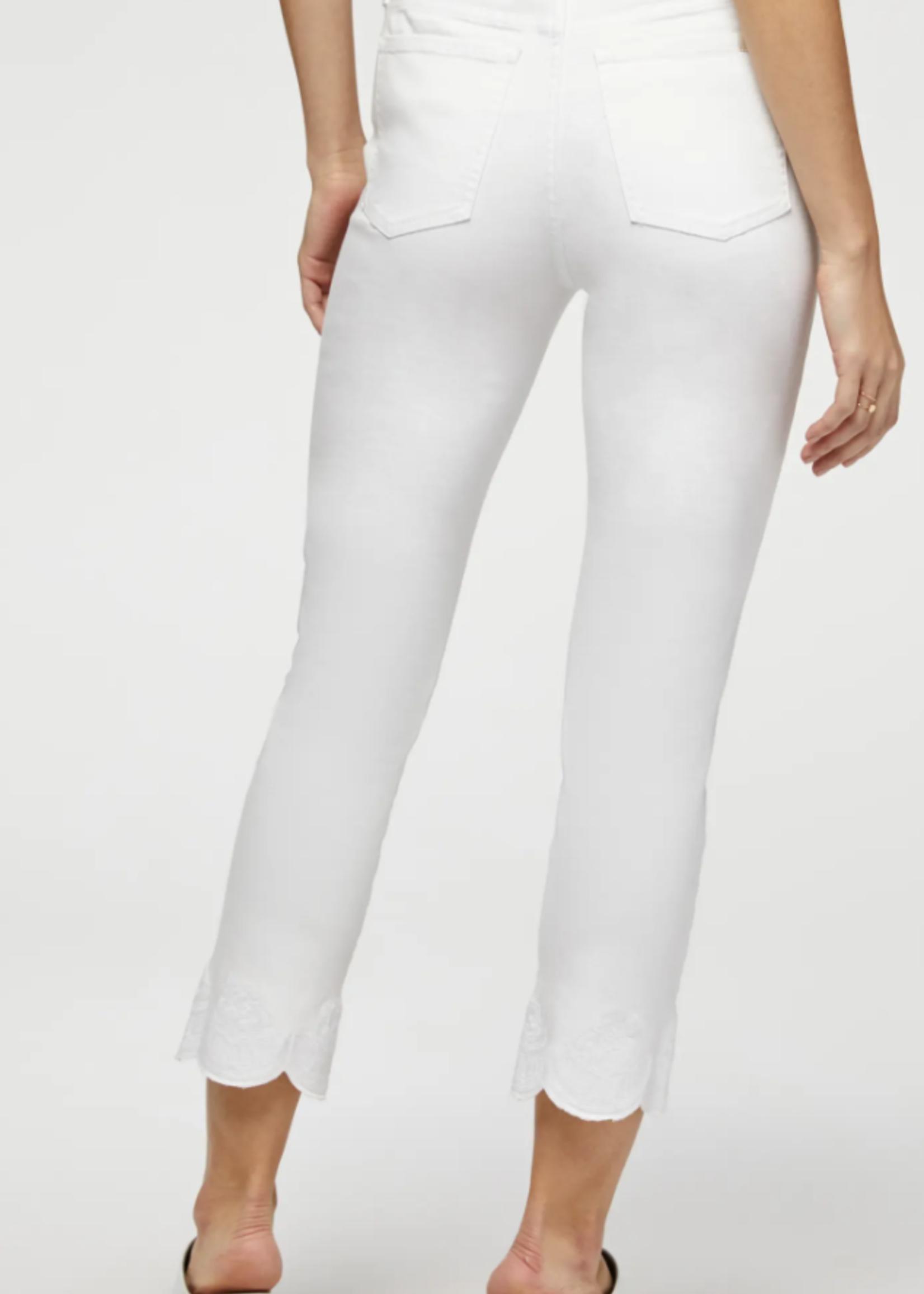 Jen7 Jen7 Embroidered Scallop Hem Crop Straight Leg Jeans
