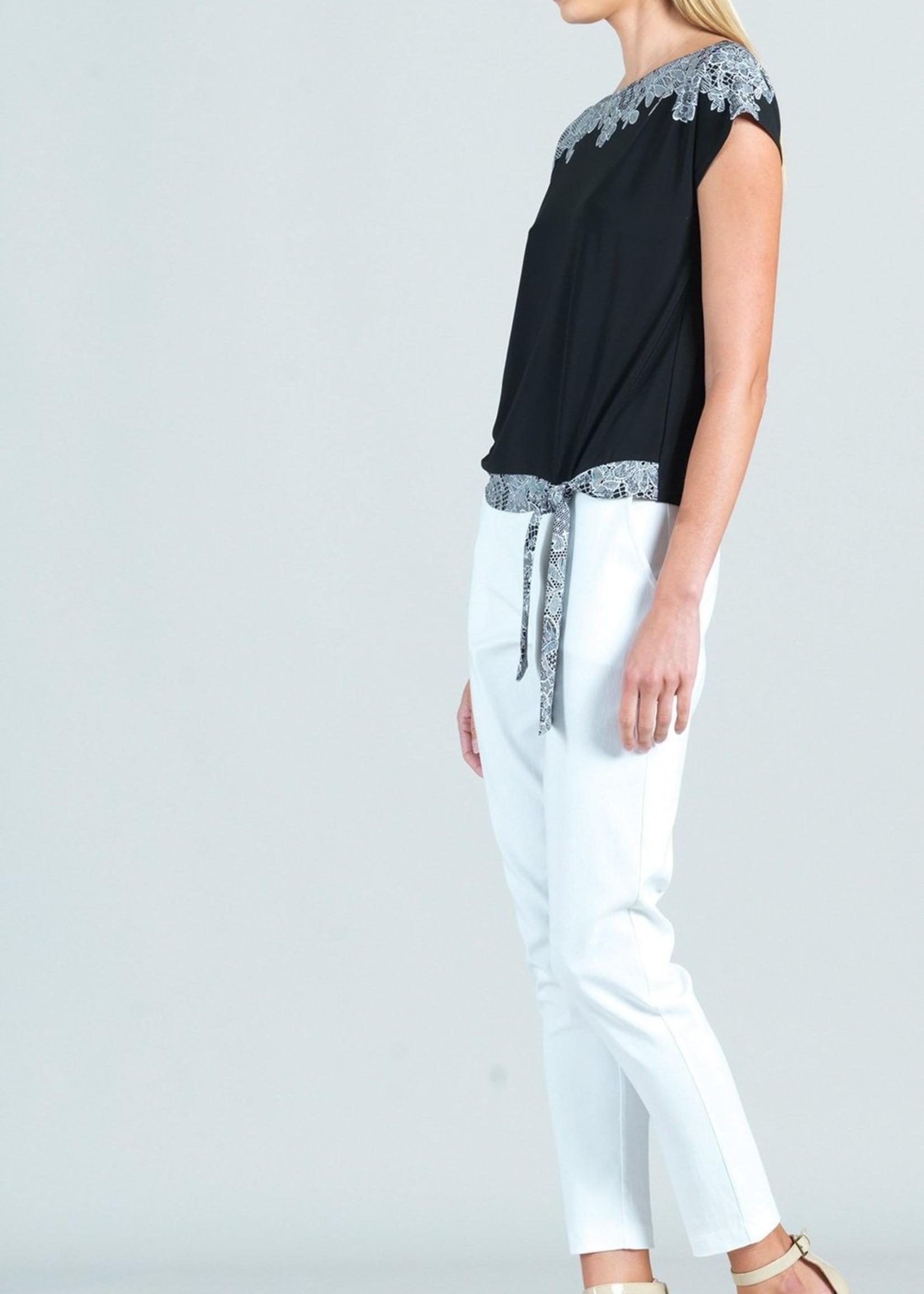 Clara Sunwoo Clara Sunwoo Lace Trim Print Cap Sleeve Tie Top