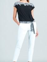 Clara Sunwoo Lace Trim Print Cap Sleeve Tie Top
