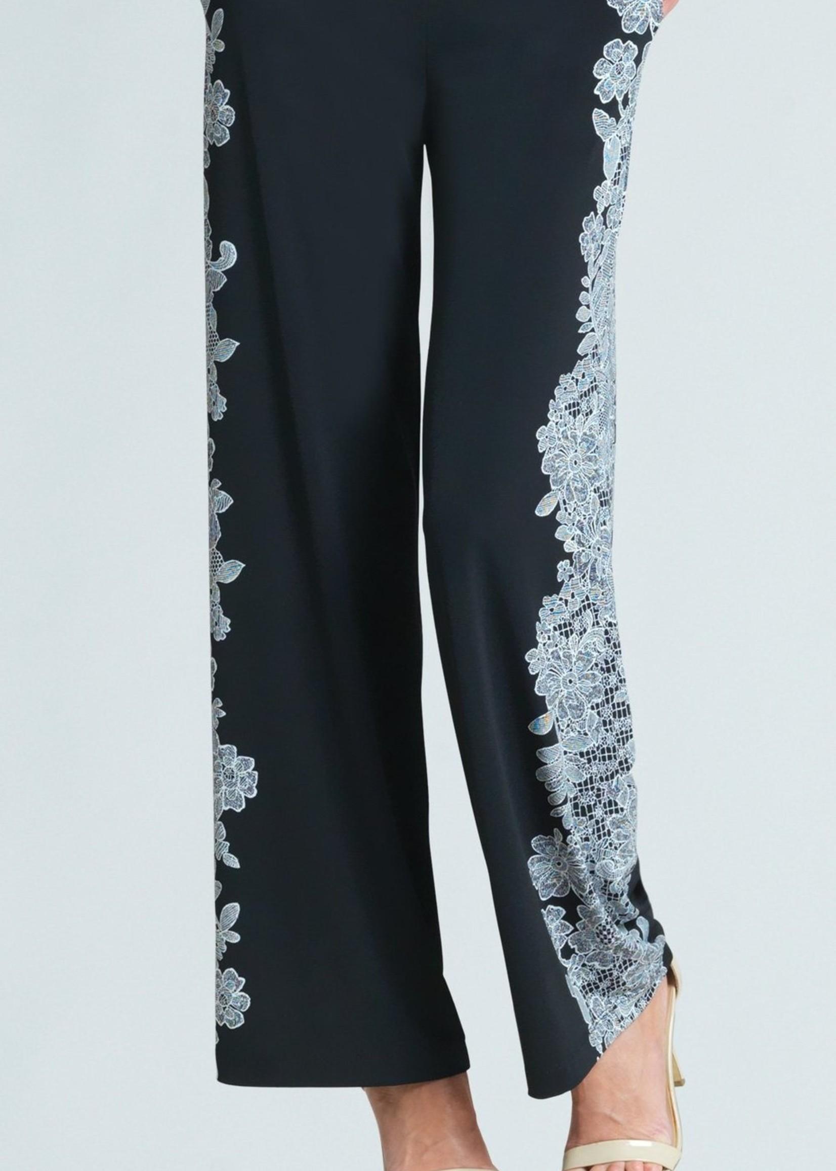 Clara Sunwoo Clara Sunwoo Lace Trim Print Wide Leg Pocket Pant