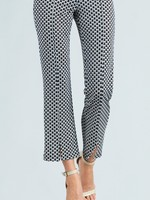 Clara Sunwoo Modern Heart Print Light Knit Center Seam Kick Front Ankle Pant