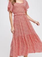Ellison Floral Polka Dot Red Dress
