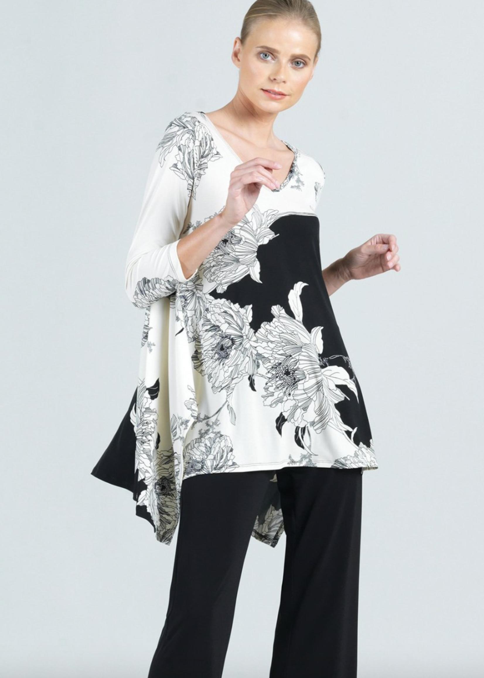 Clara Sunwoo Floral Clara Sunwoo Outline Print Classic V-Neck Envelope Hem Tunic