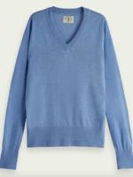 Scotch & Soda Sky Blue Lightweight V-neck Knit