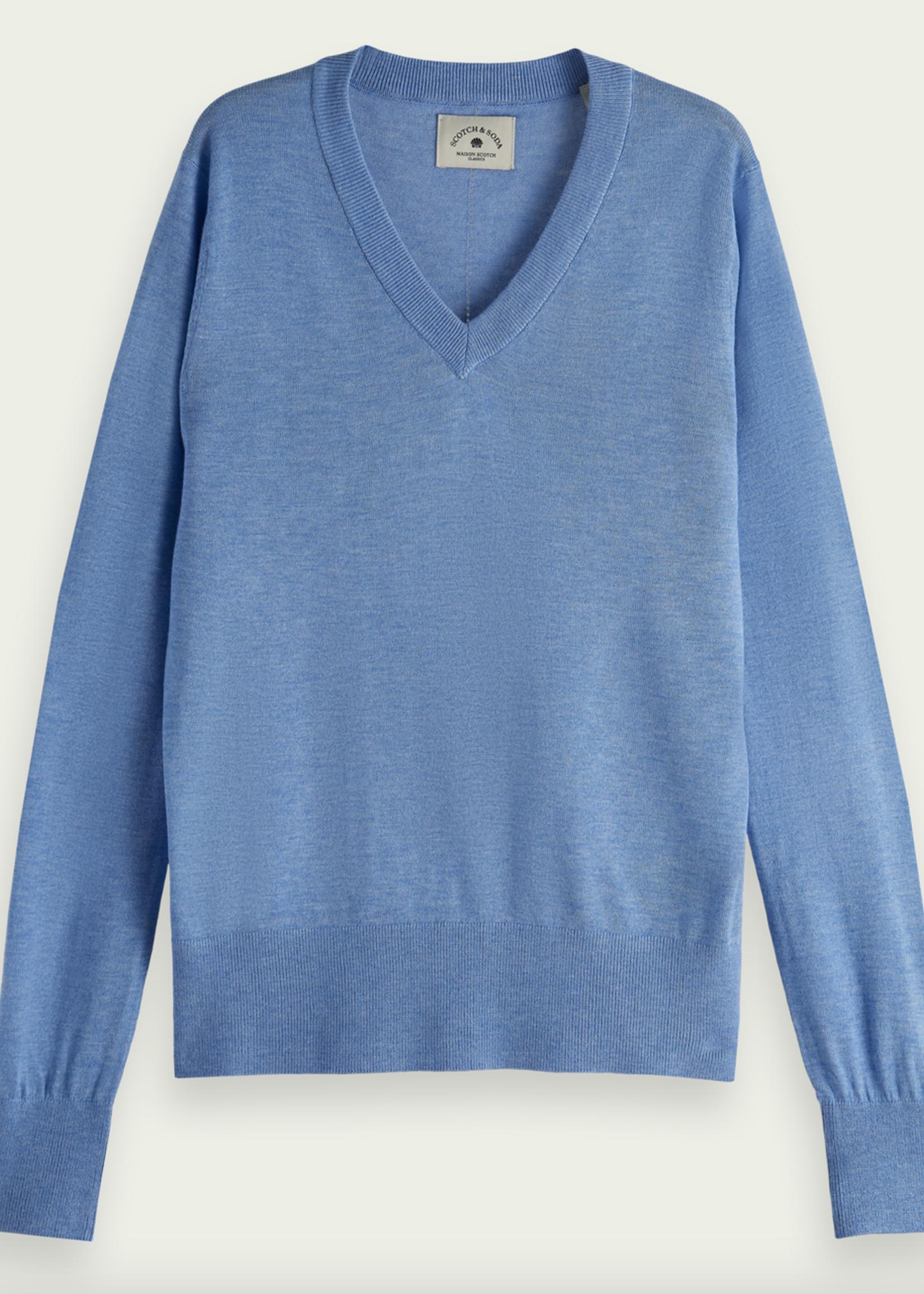 Scotch & Soda French Connection Sky Blue Lightweight V-neck Knit