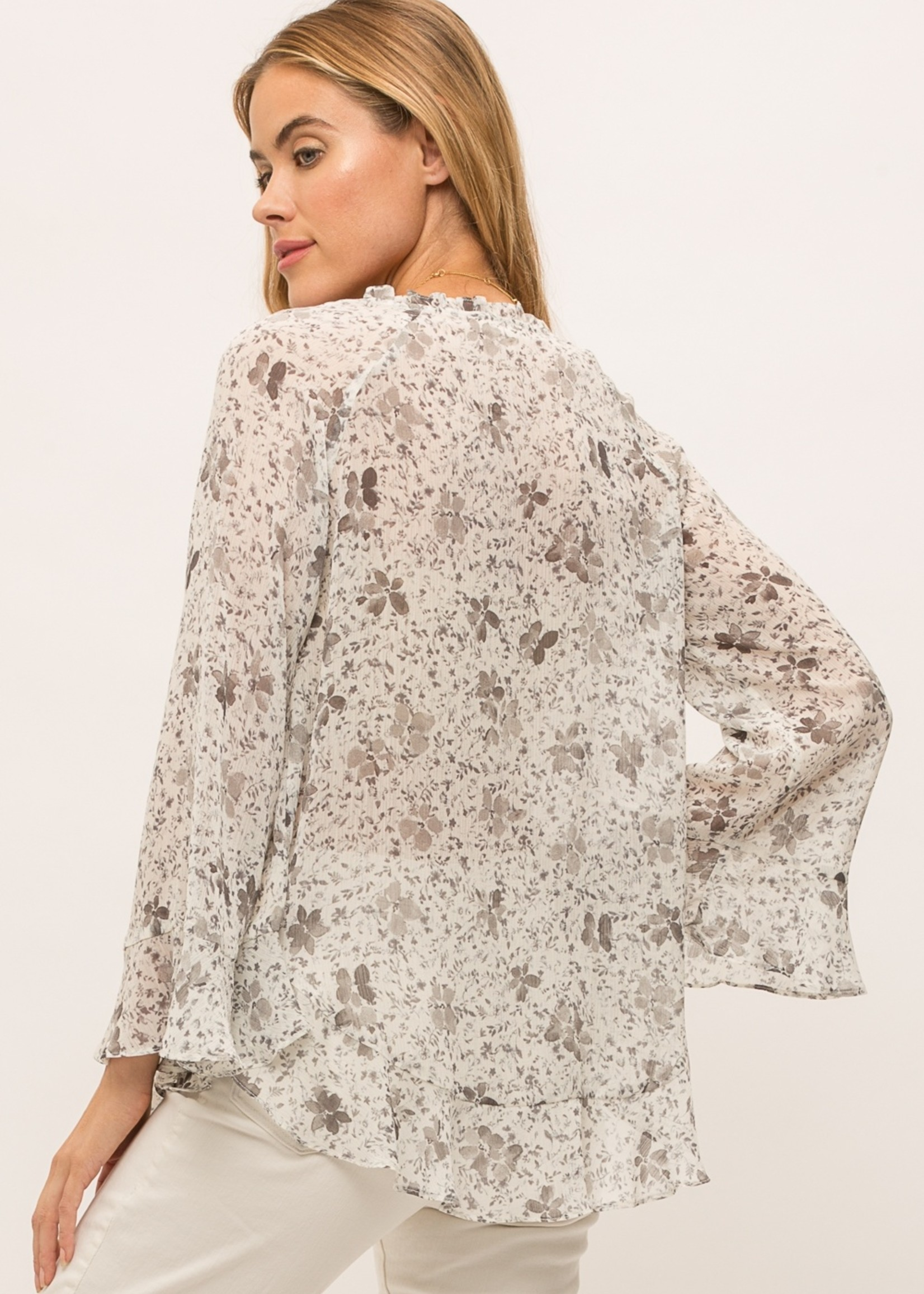 Mystree Mystree Ivory Floral Blouse