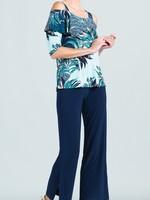 Clara Sunwoo Multi Media Palm Print Open Shoulder Ruffle Top