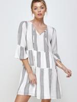 En Creme Striped Ruffle Dress