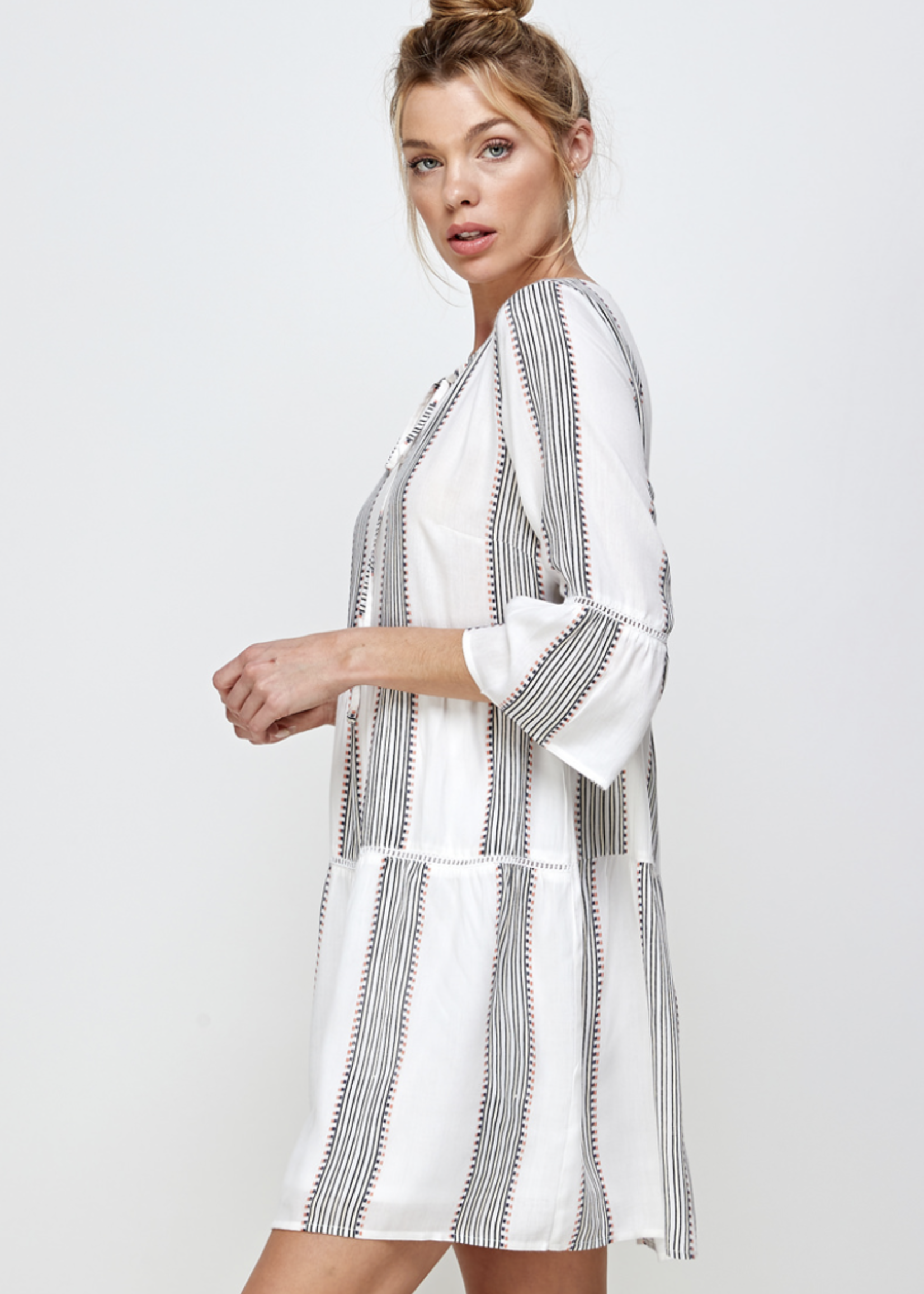 En Creme En Creme Striped Ruffle Dress