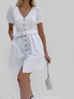 French Connection Besima Poplin Belted Dress