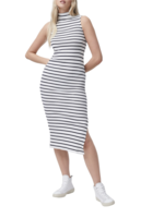 French Connection Tommy Rib High Neck Sleeveless Dress