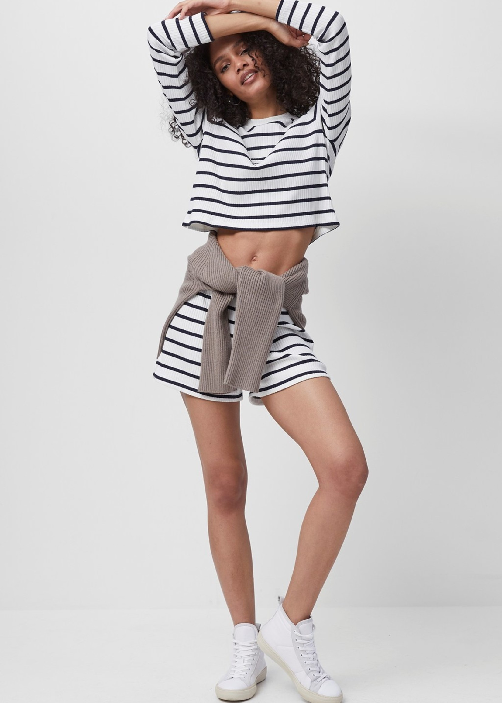 French Connection French Connection Tommy Rib Long Sleeve Striped Crop Top