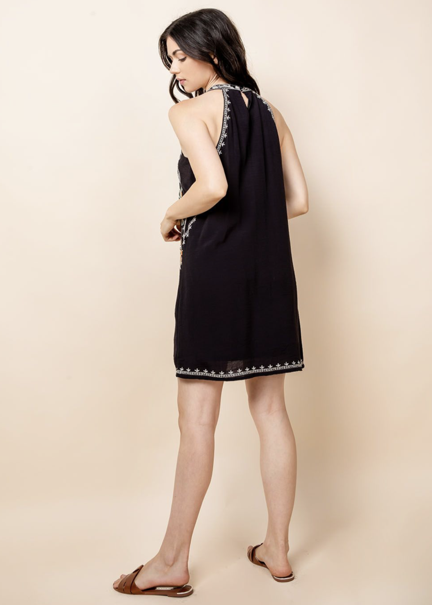 THML THML Embroidered Halter Dress