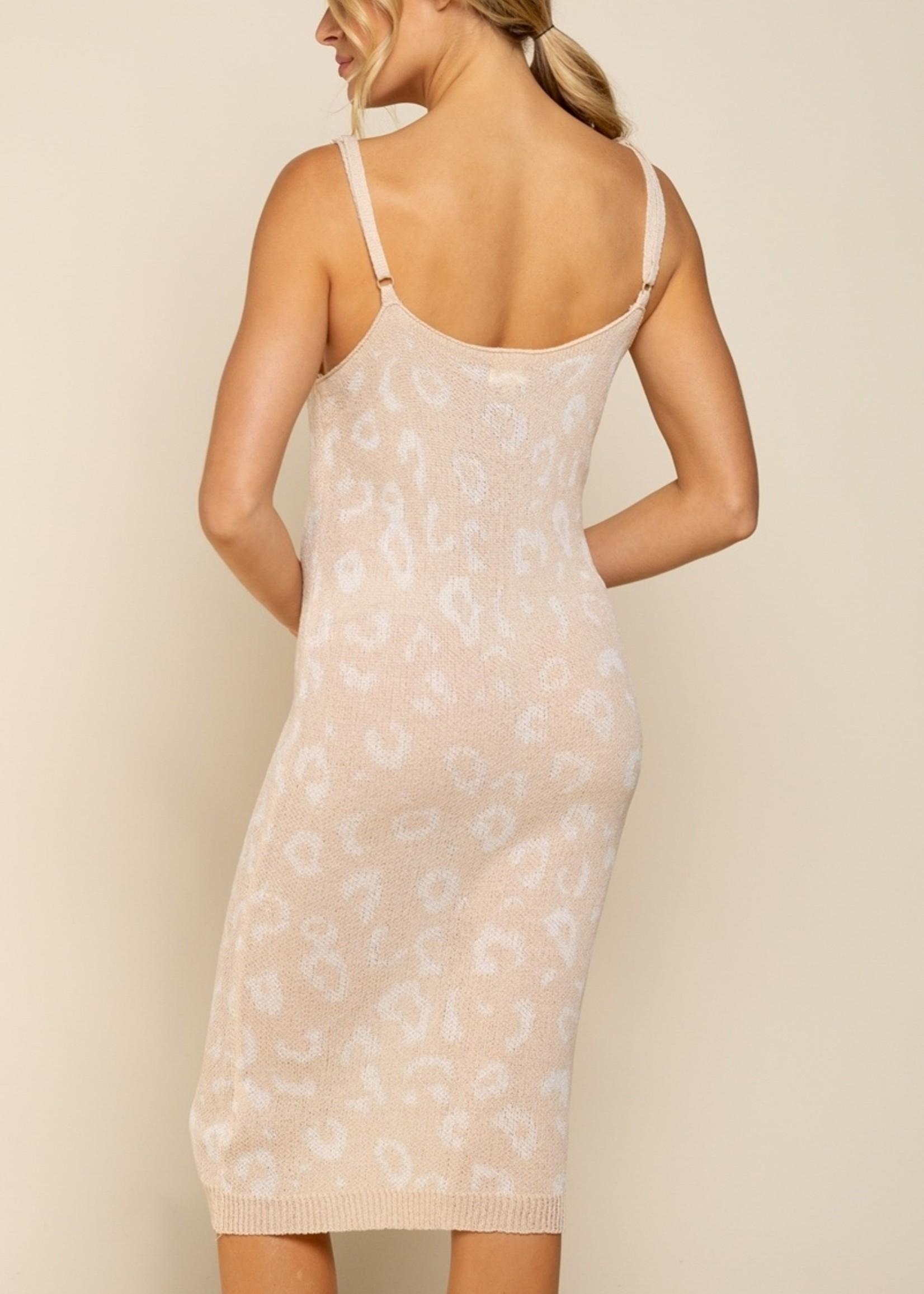 POL POL Knit Cream White Leopard Dress
