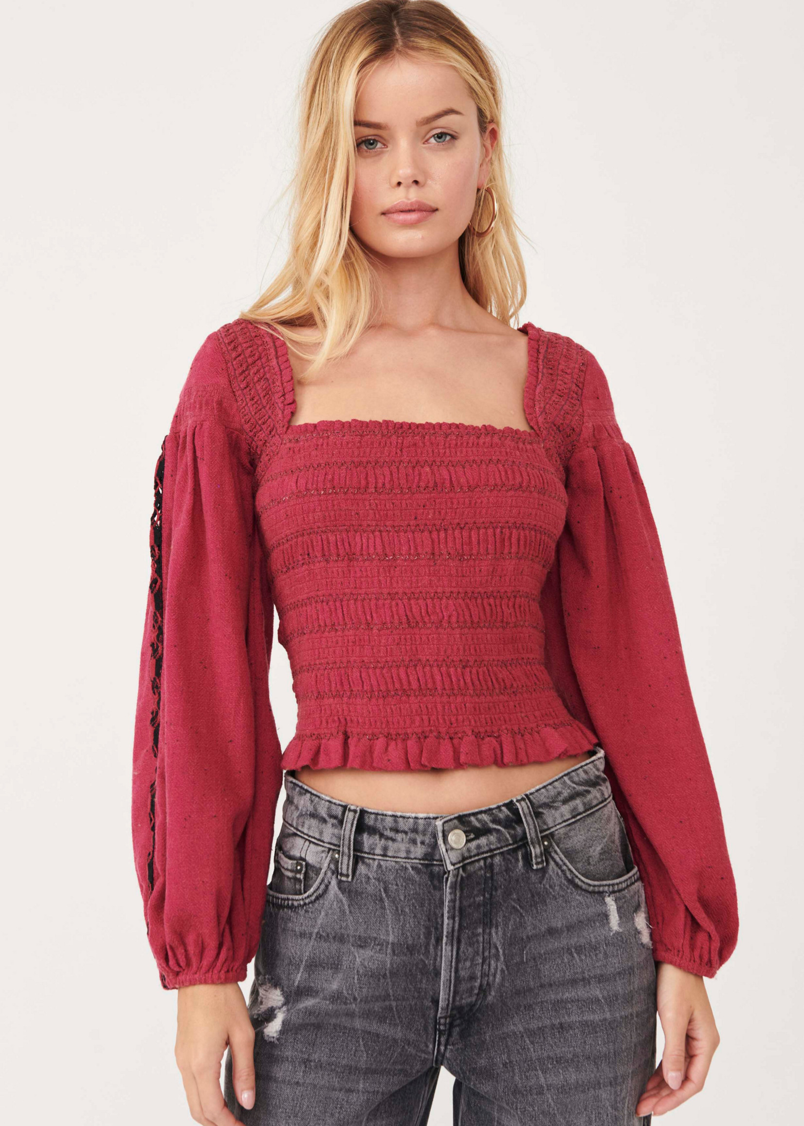 Free People Maggie Embroidered Top