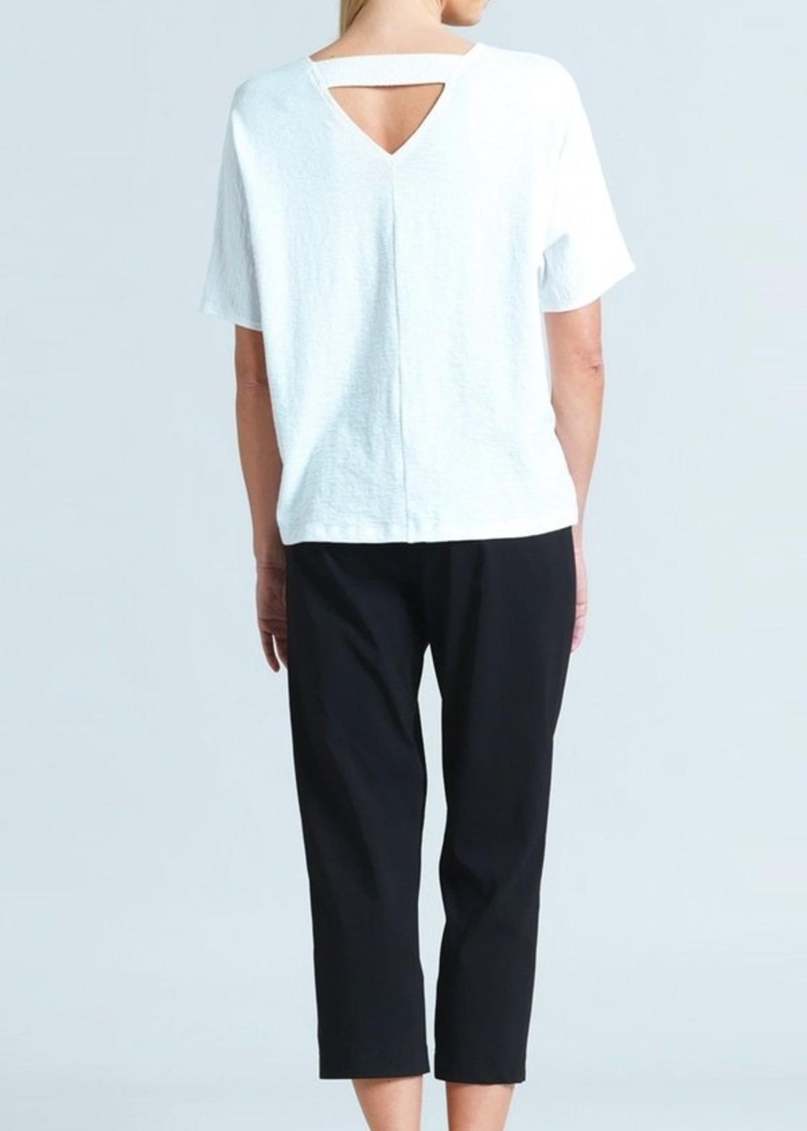 Clara Sunwoo Clara Sunwoo Solid Cotton Knit V-Cross Bar Cut-Out Top