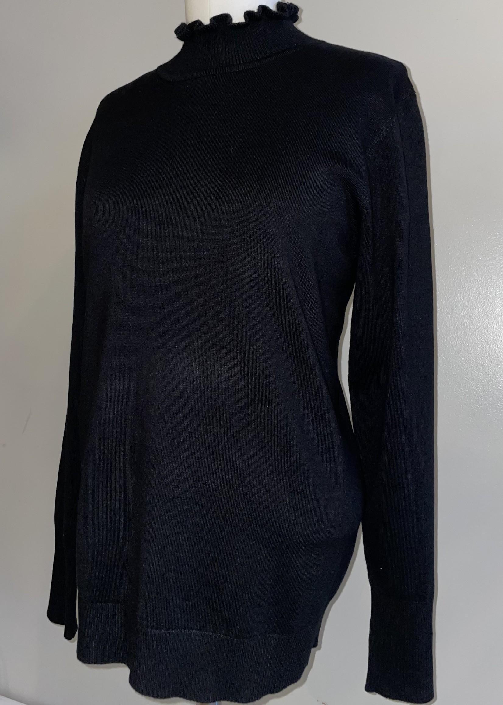 Sunday Black Frill-Neck Sweater