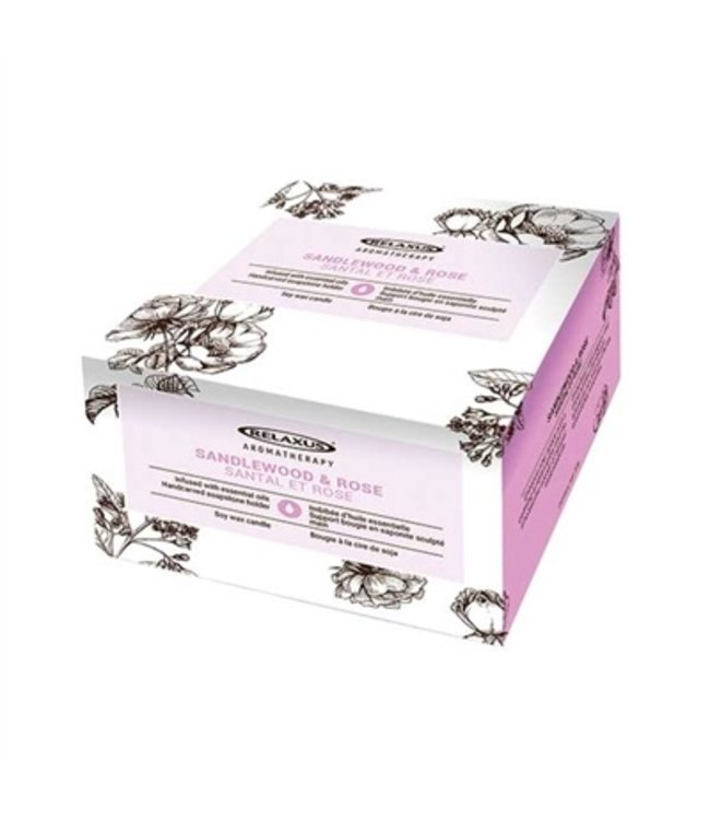RELAXUS RLX SOY WAX CANDLE SANDALWOOD & ROSE