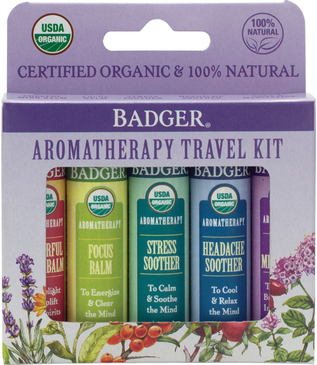 BADGER AROMATHERAPY TRAVEL KIT (5 x .15OZ STICKS)