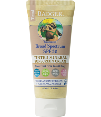 BADGER SUNSCREEN CREAM 2.9OZ TINTED - UNSCENTED SPF30