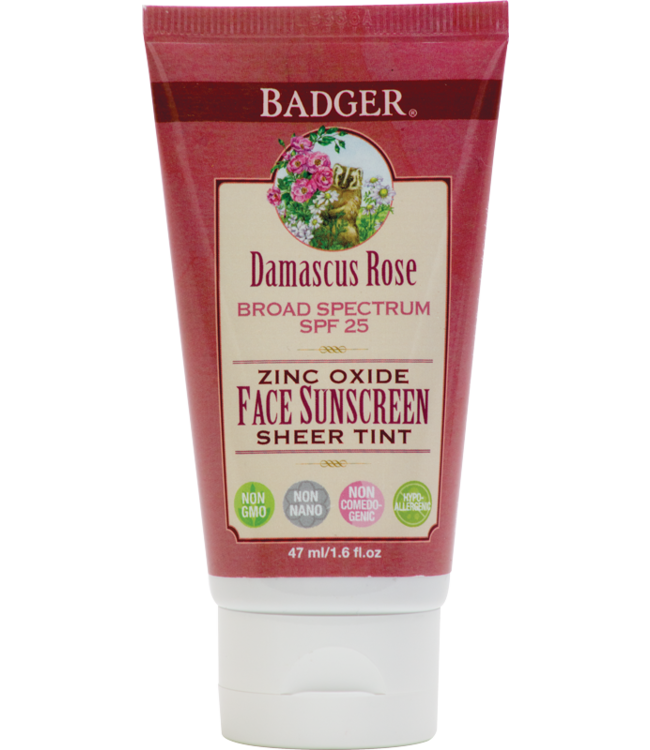 BADGER FACE SUNSCREEN LOTION DAMASCUS ROSE - TINTED SPF25