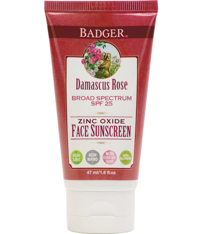 BADGER FACE SUNSCREEN LOTION DAMASCUS ROSE SPF25