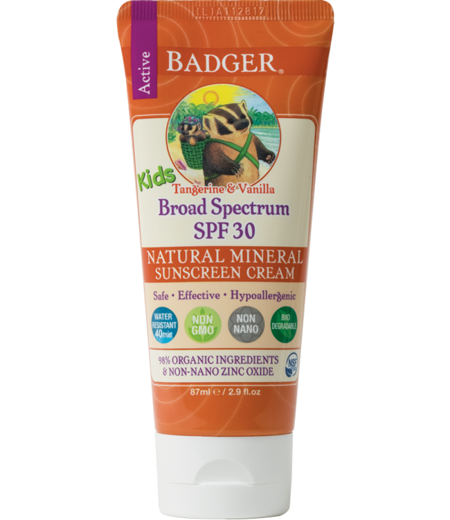 BADGER SUNSCREEN CREAM 2.9OZ KIDS  - TANGERINE & VANILLA SPF30