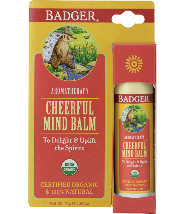 BADGER AROMATHERAPY MIND BALM STICK CHEERFUL .6 OZ