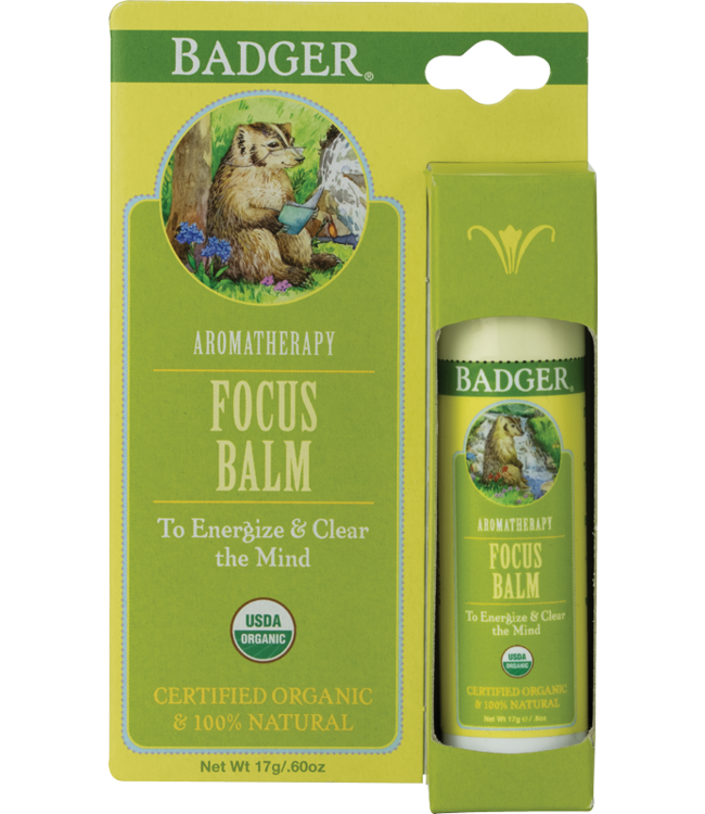 BADGER AROMATHERAPY MIND BALM STICK FOCUS .6 OZ