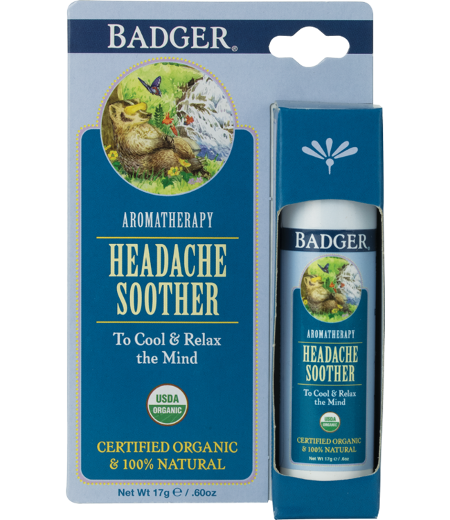 BADGER AROMATHERAPY MIND BALM STICK HEADACHE SOOTHER .6 OZ