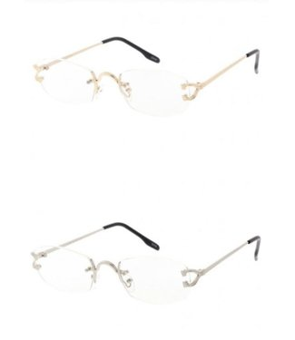 BLUE LIGHT BL CLASSY TWO-TONE METAL ACCENT OVAL BLUE LIGHT FILTERING CLEAR LENS RECTANGLE RIMLESS GLASSES