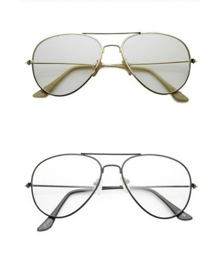BLUE LIGHT BL NICKEL PLATED TEAR DROP WIRE FRAME BASIC METAL CLEAR LENS AVIATOR GLASSES