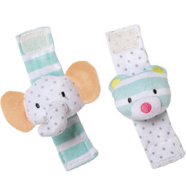 MANHATTAN TOY COMPANY Playtime Plush Elephant & Bear Wrist Rattle Set
