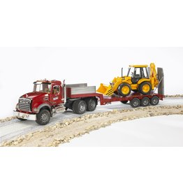 BRUDER TOYS AMERICA INC MACK Granite Truck with Low Loader and JCB Backhoe Loader