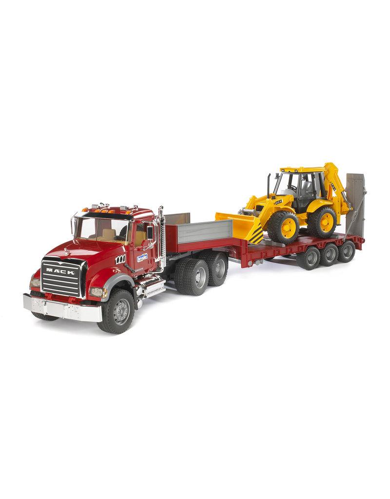 BRUDER TOYS AMERICA INC MACK Granite Truck with Low Loader and JCB Backhoe Loader