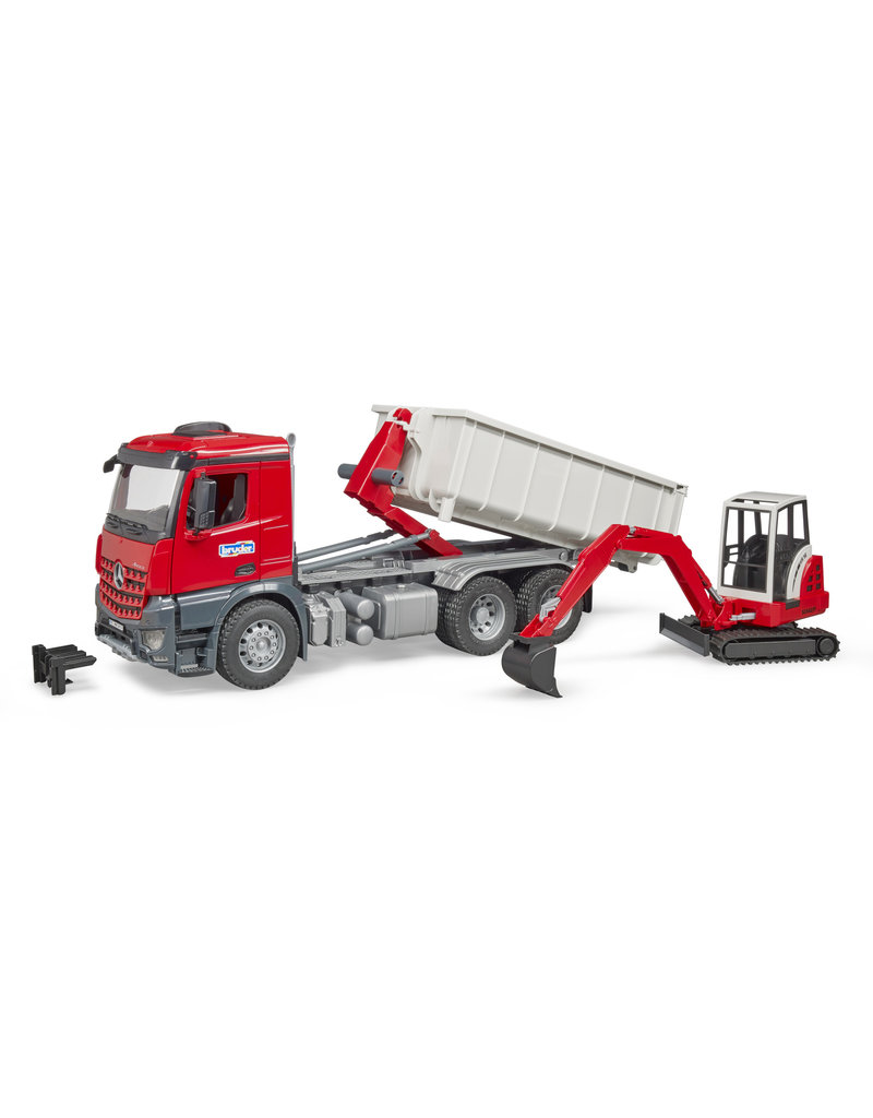 BRUDER TOYS AMERICA INC MB Arocs Truck with Roll-Off-Container w Mini excavator