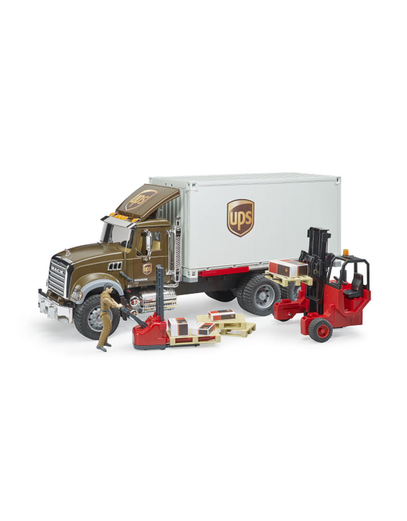 BRUDER TOYS AMERICA INC MACK Granite UPS logistics Truck + Forklift