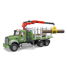 BRUDER TOYS AMERICA INC MACK Granite timber truck with loading crane and 3 trunks