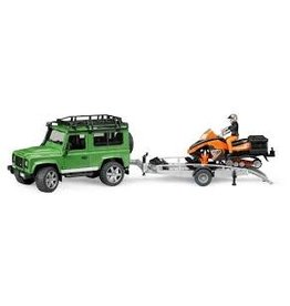 BRUDER TOYS AMERICA INC Land Rover Defender w trailer, snowmobile and driver