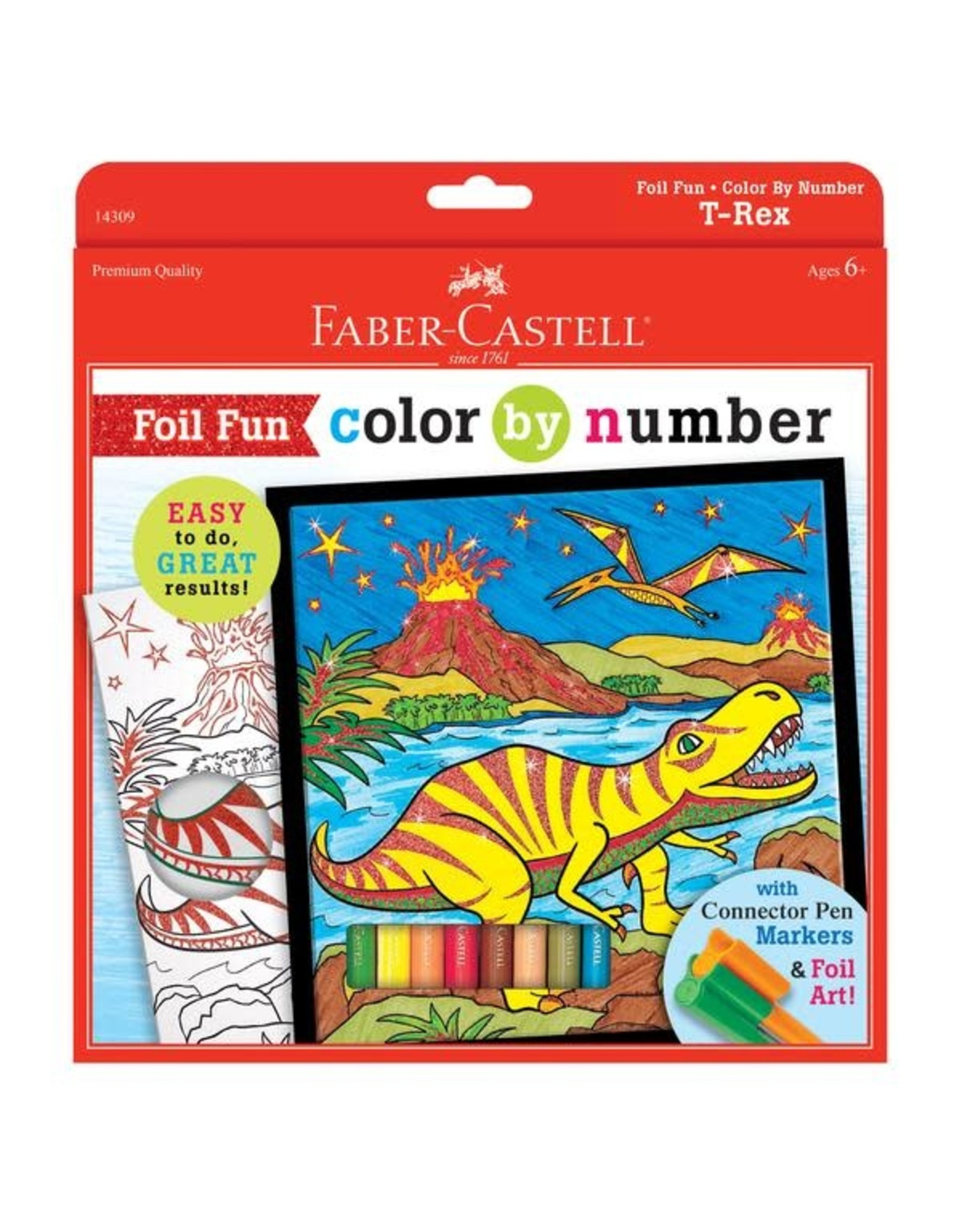 Faber Castell Color By Number T-Rex Foil Fun