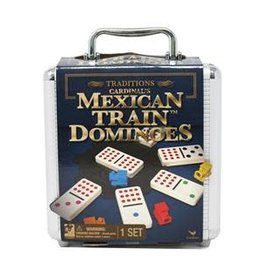 Gund/Spinmaster Traditions Mexican Train Dominoes in  Aluminum Carry Case