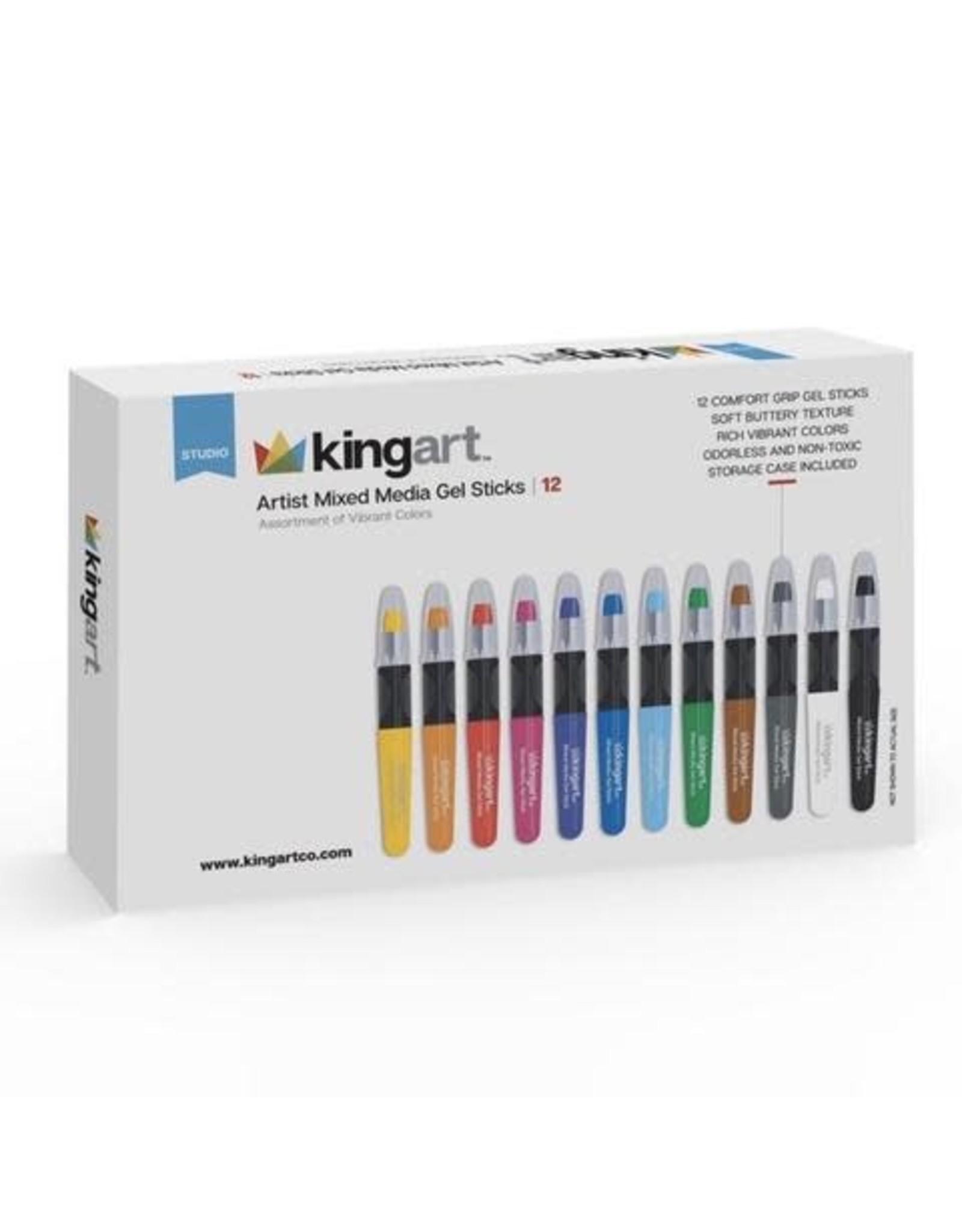 KINGART 12 PC. BASIC COLOR ARTIST GEL STICK SET