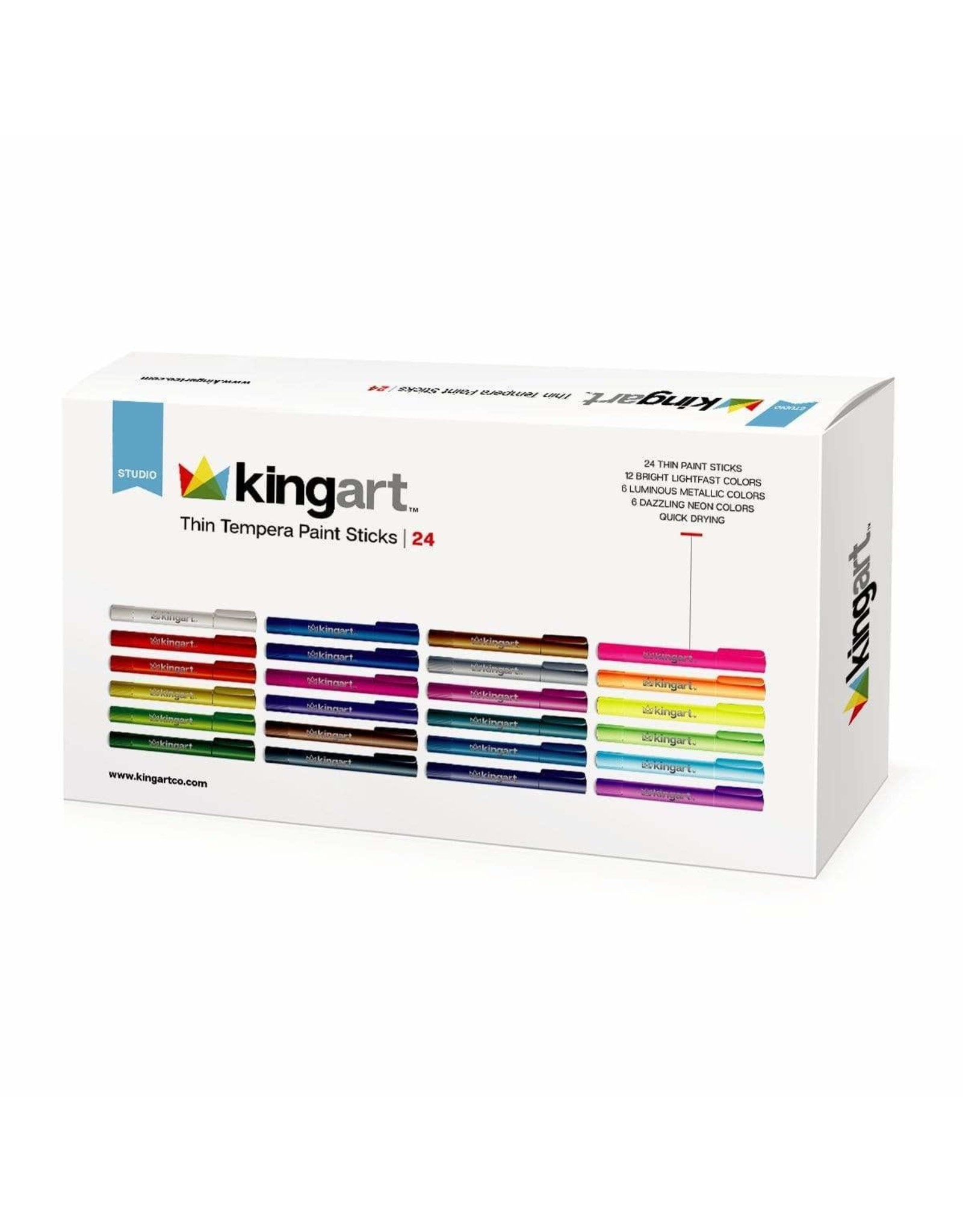 KINGART 24 PC. TEMPERA PAINT THIN STICK SET