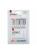KINGART 8 PC Inkline Fine Line Color Ink Pen Set Mixed