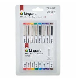 KINGART 8 PC Inkline Fine Line Color Ink Pen Set Mixed