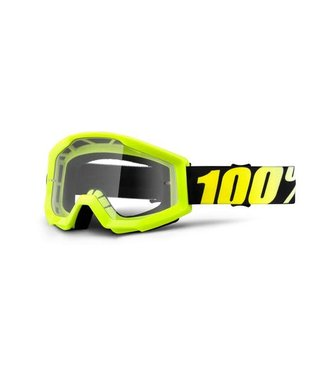 100% 100% Strata Goggles Neon Yellow, Clear Lens